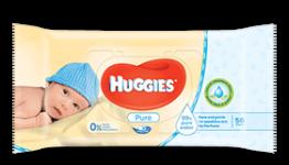 HUGGIES PURE vaikiškos drėgnos servetėlės, 56 vnt