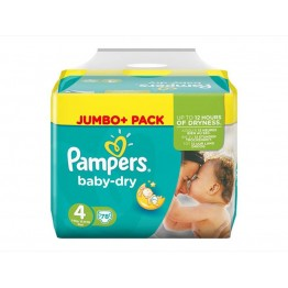 PAMPERS Baby Dry JUMBO pack 4 dydis (9-14 kg), 78 vnt