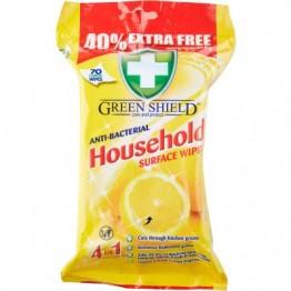 GREEN SHIELD antibakterinės buitinių paviršių servetėlės, 70vnt