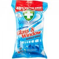 GREEN SHIELD langų ir stiklų valymo servetėlės, 70vnt