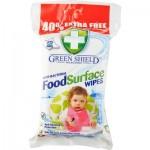 GREEN SHIELD antibakterinės su maistu besiliečiančių paviršių valymo servetėlės, 70vnt