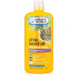 NATURAL WOLRD šampūnas su eteriniais aliejais ir čija sėklomis 500 ml