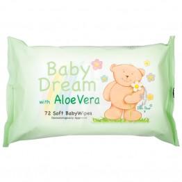 BABY DREAM drėgnos vaikiškos servetėlės su alavijumi, 72vnt