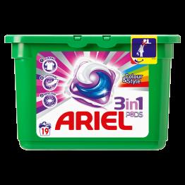 ARIEL COLOUR 3in1 skalbimo kapsulės 19 vnt