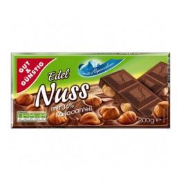 GUT GüNSTIG edel nuss šokoladas su lazdyno riešutais 200 g