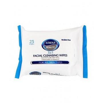 ATHENA 3IN1 veido valymo servetėlės, visiems odos tipams, 1x25vnt
