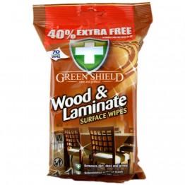 GREEN SHIELD medinių ir laminato paviršių valymo servetėlės, 70vnt
